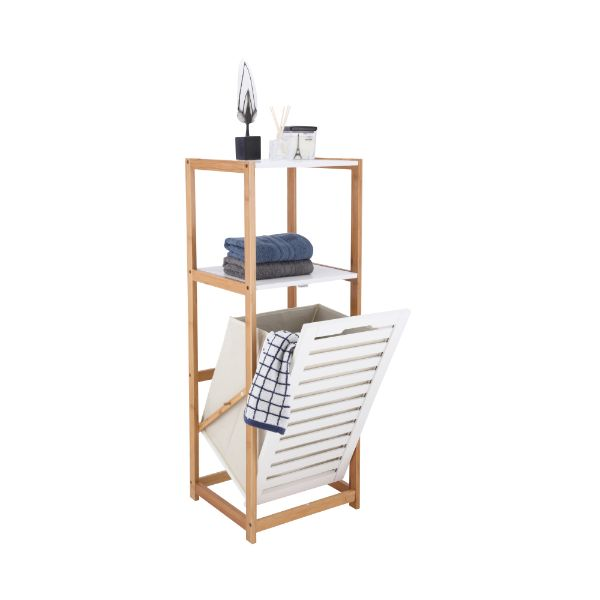 Picture of MORRI 2 Tiers bath shelf+hamper NT/WT