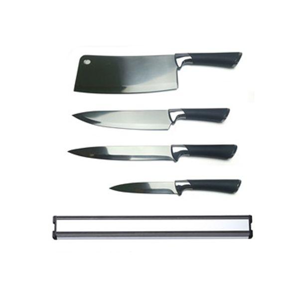 Picture of DEVIN Knife set w/magnet bar 5pcs/set BK