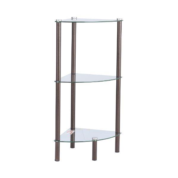Picture of RONTO Corner glass shelf 3tier BN/CG