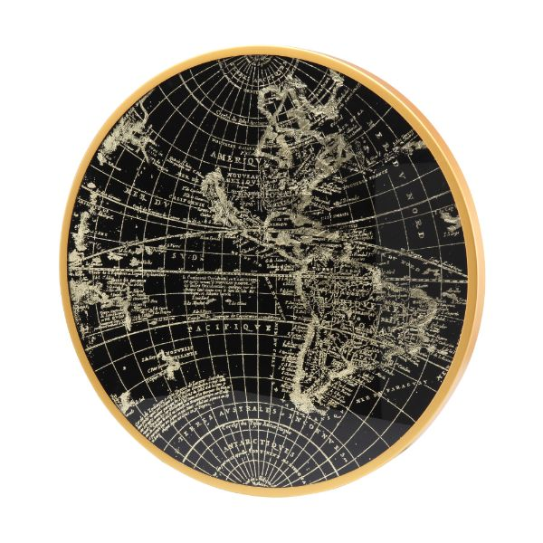 Picture of EARTHA World map wall decor D60cm. GD/BK