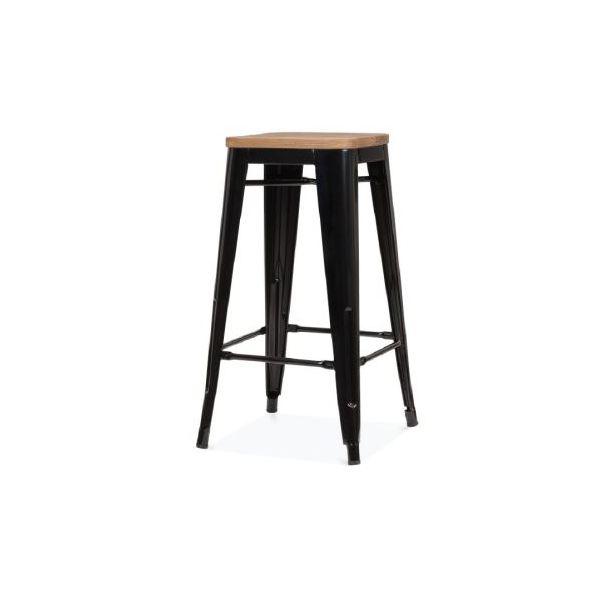 Picture of MC-012C bar stool MATT BK/PINE WOOD