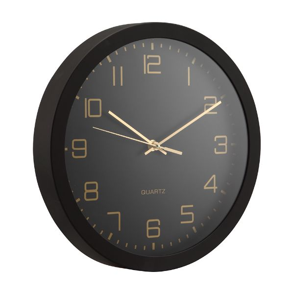"""Picture of DEWEY Wall clock 12"""" BK"""