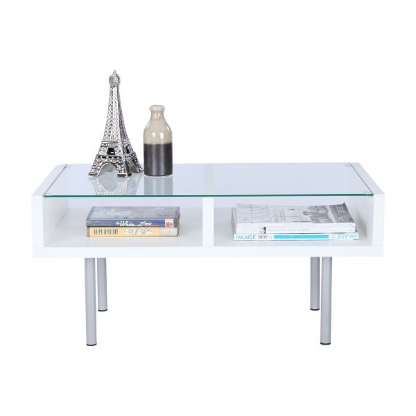 Picture of DUO -P Glass coffee table 80cm WT